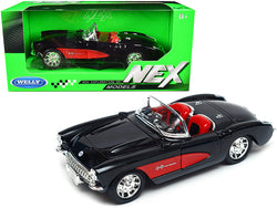 "1957 Chevrolet Corvette Convertible Black and Red with Red Interior ""NEX Models"" 1/24 Diecast Model Car by Welly"