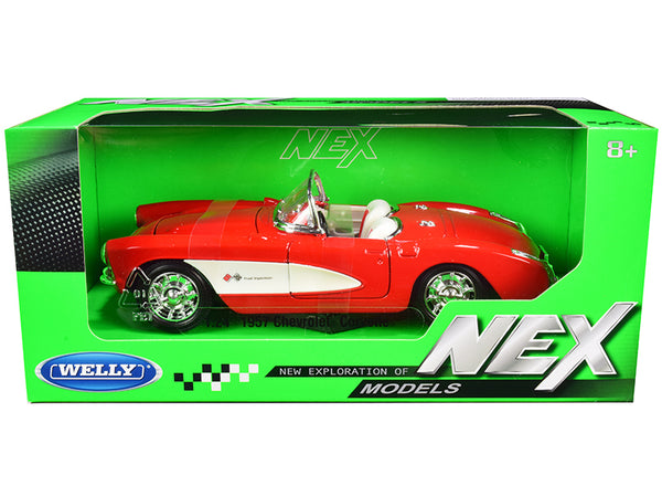 "1957 Chevrolet Corvette Convertible Red and White with White Interior ""NEX Models"" 1/24 Diecast Model Car by Welly"
