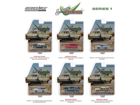 """Estate Wagons"" Series #1 (6 Car Set) 1/64 Diecast Models by Greenlight"