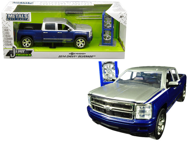"2014 Chevrolet Silverado Blue and Silver Pickup Truck with Extra Wheels ""Chevrolet Trucks 100th Anniversary"" ""Just Trucks"" Series 1/24 Diecast Model by Jada"