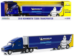 "2018 Kenworth T2000 Transporter Blue ""Michelin Competition"" ""Hobby Exclusive"" 1/64 Diecast Model by Greenlight"