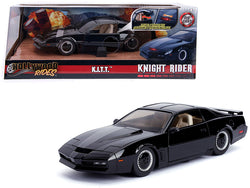 "1982 Pontiac Firebird Trans Am Black with Light K.I.T.T. ""Knight Rider"" (1982) TV Series ""Hollywood Rides"" Series 1/24 Diecast Model Car by Jada"