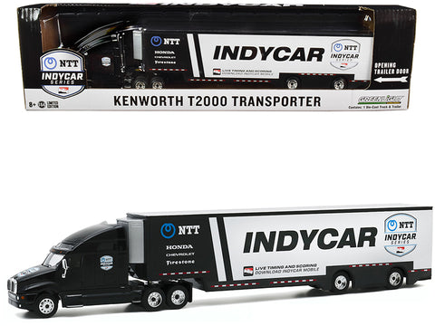 "Kenworth T2000 "" 2020 NTT Indy Car Series"" Team Transporter Black and White ""Hobby Exclusive"" 1/64 Diecast Model by Greenlight"