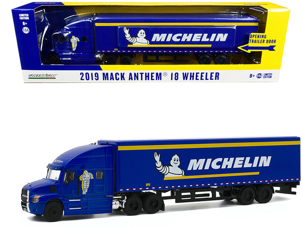 "2019 Mack Anthem 18 Wheeler Tractor-Trailer ""Michelin Tires"" Blue with Yellow Stripes 1/64 Diecast Model by Greenlight"