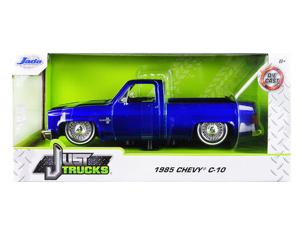 "1985 Chevrolet Silverado C-10 Pickup Truck Custom Low Rider Wire Wheels Candy Blue ""Just Trucks"" 1/24 Diecast Model by Jada"