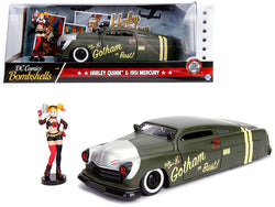 "1951 Mercury Matte Green with Harley Quinn Diecast Figure ""DC Comics"" Series 1/24 Diecast Model Car by Jada"