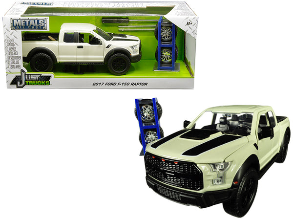"2017 Ford F-150 Raptor Pickup Truck Off White with Black Stripes and Extra Wheels ""Just Trucks"" Series 1/24 Diecast Model by Jada"