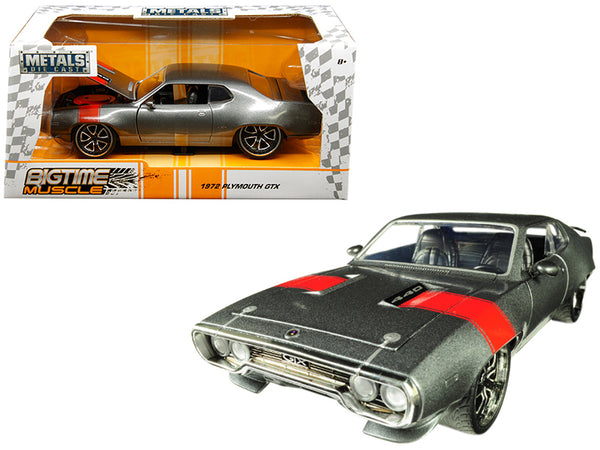 "1972 Plymouth GTX 440 Metallic Gray with Red Stripe ""Bigtime Muscle"" 1/24 Diecast Model Car by Jada"