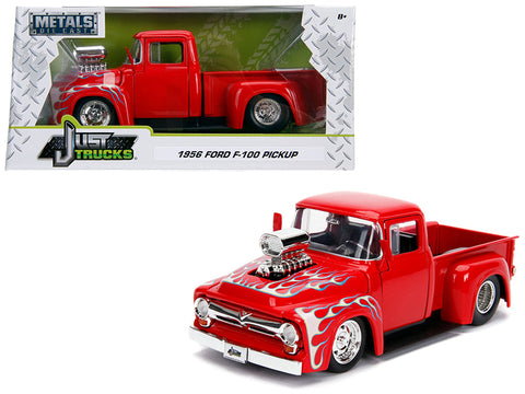 "1956 Ford F-100 Pickup Truck with Blower Glossy Red with Flames ""Just Trucks"" Series 1/24 Diecast Model by Jada"
