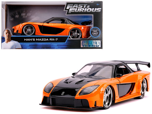 "Han's Mazda RX-7 Orange and Black ""Fast & Furious"" Movie 1/24 Diecast Model Car by Jada"