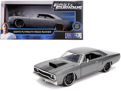 "Dom's Plymouth Road Runner Metallic Gray with Black Hood Stripe ""Fast & Furious"" Movie 1/24 Diecast Model Car by Jada"