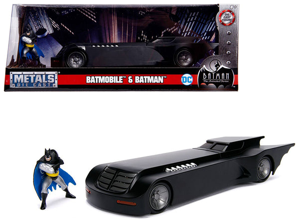 "Batmobile with Batman Diecast Figure ""Animated DC Comics Series"" 1/24 Diecast Model Car by Jada"