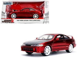 "1995 Honda Integra Type-R ""Japan Spec"" RHD (Right Hand Drive) Candy Red with Carbon Hood and White Wheels ""JDM Tuners"" 1/24 Diecast Model Car by Jada"