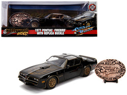 "1977 Pontiac Firebird Trans Am Black with Replica Buckle ""Smokey and the Bandit"" (1977) Movie ""Hollywood Rides"" Series 1/24 Diecast Model Car by Jada"