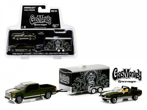 "2015 Ford F-150 Green and 1968 Shelby GT500KR Convertible Green with Enclosed Car Hauler ""Gas Monkey Garage"" (2012-Current TV Series) 1/64 Diecast Models by Greenlight"