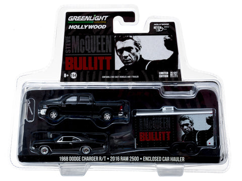 "2016 Dodge Ram 2500 and 1968 Dodge Charger R/T ""Bullitt"" (1968) in Enclosed Car Hauler 1/64 Diecast Models by Greenlight"