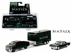 "2015 Ford F-150 Pickup Black with 1965 Lincoln Continental Black with Enclosed Car Trailer which has Opening Rear Hatch ""The Matrix"" Movie (1999) Hollywood Hitch and Tow Series #4 1/64 Diecast Models by Greenlight"