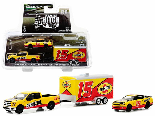 "2015 Ford F-150 and 2012 Shelby GT500 ""Pennzoil"" with Enclosed Car Racing Hauler ""Hitch & Tow"" Series #1 1/64 Diecast Models by Greenlight"