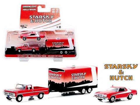 "1972 Ford F-100 with 1976 Ford Gran Torino and Enclosed Car Hauler ""Starsky and Hutch"" (1975-1979) TV Series ""Hollywood Hitch and Tow"" Series #5 1/64 Diecast Models by Greenlight"