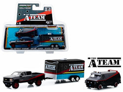"2015 Chevrolet Silverado with 1983 GMC Vandura and Enclosed Car Hauler with Bullet Holes ""The A-Team"" (1983-1987) TV Series ""Hollywood Hitch and Tow"" Series #5 1/64 Diecast Models by Greenlight"
