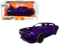 "2015 Dodge Challenger SRT Hellcat Purple with Black Stripes ""Big Time Muscle"" 1/24 Diecast Model Car by Jada"