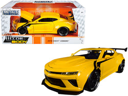 "2016 Chevrolet Camaro Widebody Metallic Yellow with Black Stripes ""Big Time Muscle"" 1/24 Diecast Model Car by Jada"