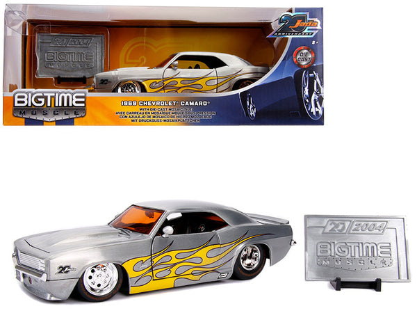 "1969 Chevrolet Camaro Raw Metal with Yellow Flames ""Bigtime Muscle"" - ""Jada 20th Anniversary"" 1/24 Diecast Model Car by Jada"