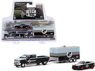 "2019 Ford F-350 Lariat Dually Pickup Truck and 2019 Ford Mustang Shelby GT350R #2 with Enclosed Car Hauler ""Gulf Oil"" ""Racing Hitch and Tow"" Series #2 1/64 Diecast Models by Greenlight"