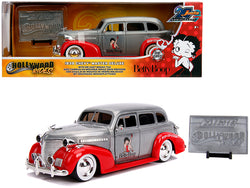 "1939 Chevrolet Master Deluxe Raw Metal and Red ""Betty Boop"" ""Hollywood Rides"" ""Jada 20th Anniversary"" 1/24 Diecast Model Car by Jada"