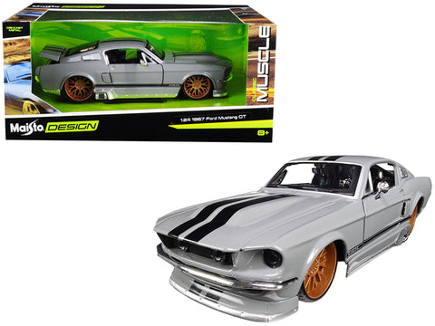 "1967 Ford Mustang GT 5.0 Gray with Black Stripes ""Classic Muscle"" 1/24 Diecast Model Car by Maisto"