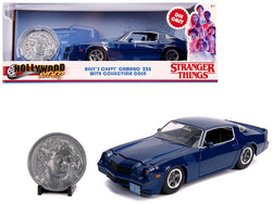 "Billy's Chevrolet Camaro Z28 Dark Blue with Collectible Coin ""Stranger Things"" (2016) TV Series 1/24 Diecast Model Car by Jada"