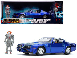 "Henry Bower's Pontiac Firebird Trans Am Candy Blue with Pennywise Diecast Figure ""It Chapter Two"" (2019) Movie 1/24 Diecast Model Car by Jada"