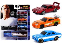 """Fast & Furious"" (3 Piece Set) ""Nano Hollywood Rides"" Series #1 Diecast Models by Jada"
