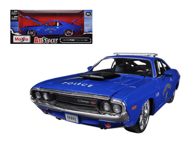 "1970 Dodge Challenger R/T Coupe Police Blue ""All Stars"" 1/24 Diecast Model Car by Maisto"