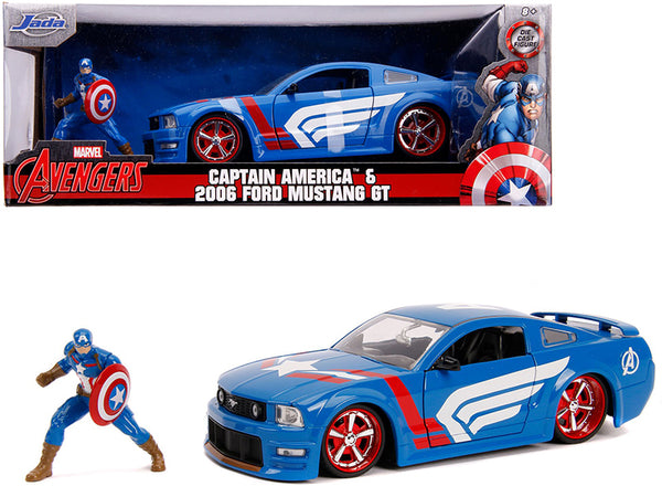 "2006 Ford Mustang GT with Captain America Diecast Figure ""Avengers"" ""Marvel"" Series 1/24 Diecast Model Car by Jada"