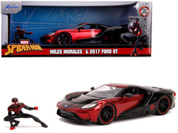 "2017 Ford GT with Miles Morales Diecast Figure ""Spider Man"" ""Marvel"" Series 1/24 Diecast Model Car by Jada"