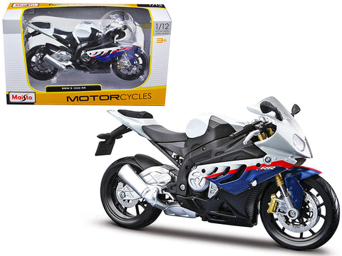 BMW S1000RR White/Red/Blue 1/12 Diecast Motorcycle Model by Maisto