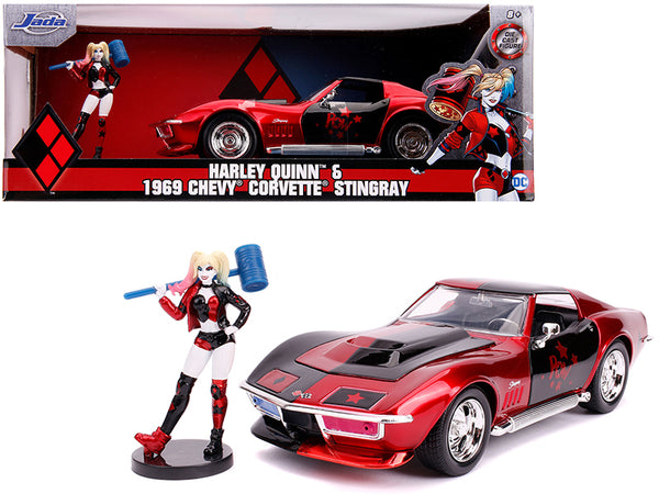 "1969 Chevrolet Corvette Stingray with Harley Quinn Diecast Figure ""DC Comics"" Series 1/24 Diecast Model Car by Jada"