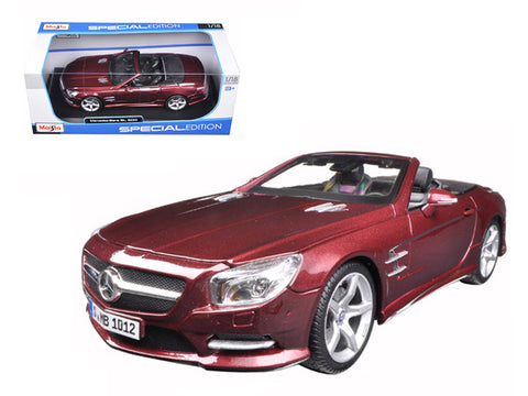 2012 Mercedes SL 500 Convertible Burgundy 1/18 Diecast Model Car by Maisto