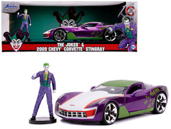 "2009 Chevrolet Corvette Stingray with Joker Diecast Figure ""DC Comics"" Series 1/24 Diecast Model Car by Jada"