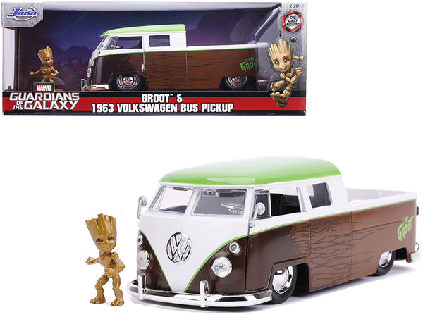 "1963 Volkswagen Bus Pickup Truck with Groot Diecast Figure ""Guardians of the Galaxy"" ""Marvel"" Series 1/24 Diecast Model Car by Jada"