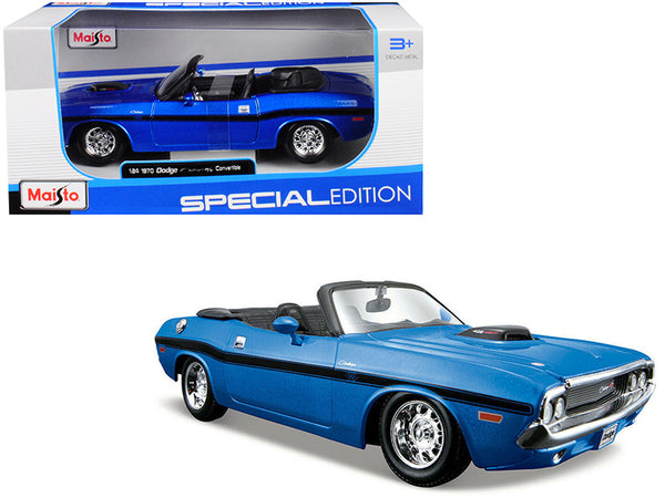 1970 Dodge Challenger R/T Convertible Metallic Blue 1/24 Diecast Model Car by Maisto