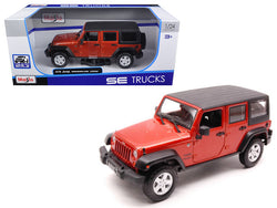 2015 Jeep Wrangler Unlimited Orange 1/24 Diecast Model Car by Maisto