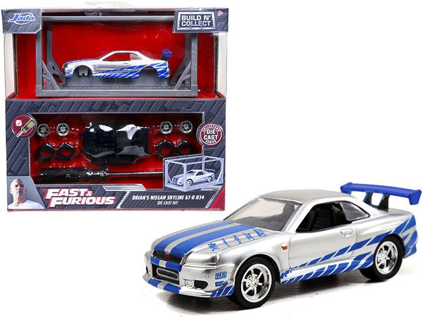 "Brian's Nissan Skyline GT-R R34 Silver and Blue ""Fast & Furious"" Movie ""Build N' Collect"" Model Kit 1/55 Diecast Model Car by Jada"