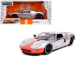 "2005 Ford GT Silver with Orange Stripe ""Bigtime Muscle"" 1/24 Diecast Model Car by Jada"