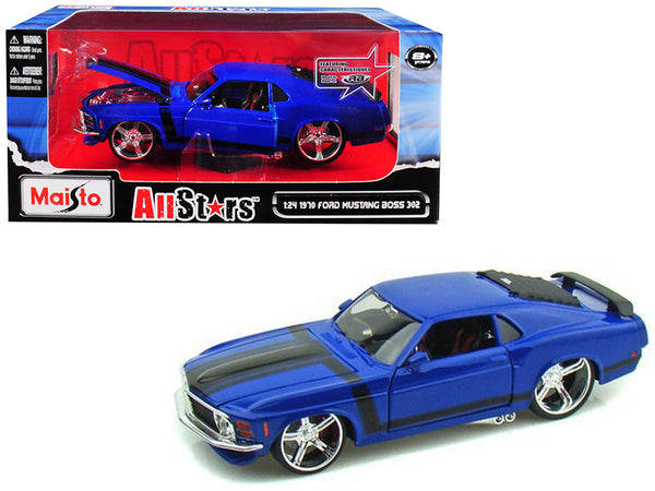 "1970 Ford Mustang Boss 302  Blue ""Pro Rodz"" 1/24 Diecast Model Car by Maisto"