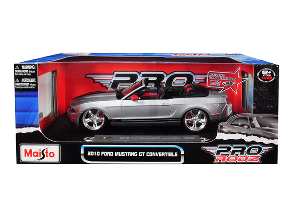 "2010 Ford Mustang GT Convertible Silver ""Pro Rodz"" 1/18 Diecast Model Car by Maisto"
