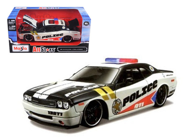 2010 Dodge Challenger Police Black and White Custom 1/24 Diecast Model Car by Maisto