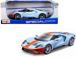 "2017 Ford GT Blue with Orange Stripe ""Special Edition"" 1/18 Diecast Model Car by Maisto"