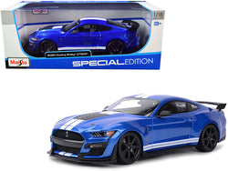 "2020 Ford Mustang Shelby GT500 Blue Metallic with White Stripes ""Special Edition"" 1/18 Diecast Model Car by Maisto"